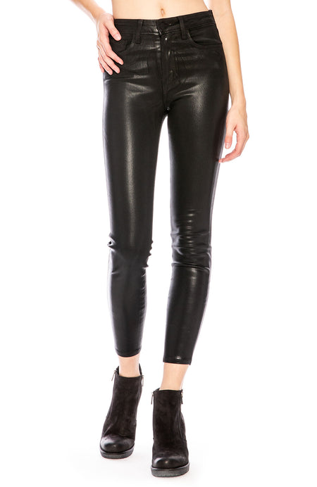 The Margot Coated High Rise Ankle Skinny in Black