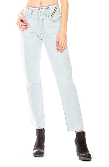 Brief Mid-Rise Straight-Leg Jeans