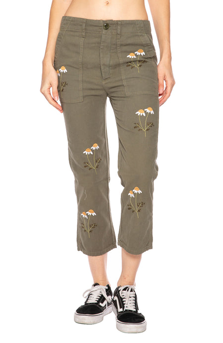 Daisy Embroidered Army Pant