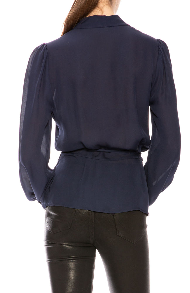 L'Agence Cara Wrap Blouse in Navy at Ron Herman