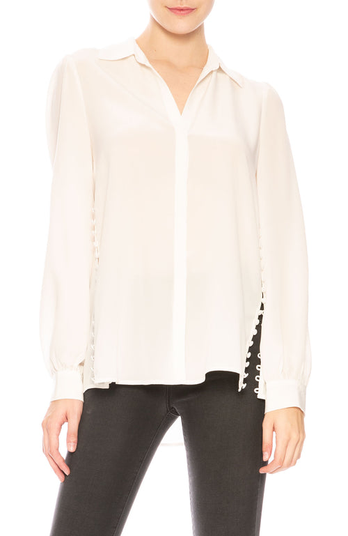 L'Agence Cinza Silk Side Button Shirt at Ron Herman