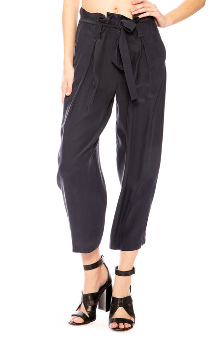 Samira Wide-Leg Paper Bag  Silk Pant