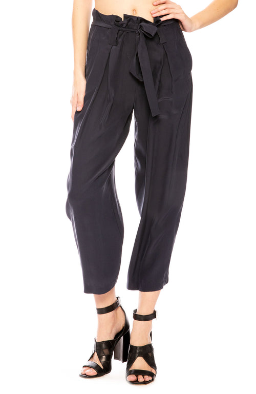L'Agence Samira Wide-Leg Paper Bag  Silk Pant in Midnight at Ron Herman