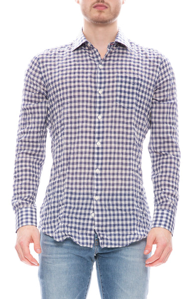 Today is Beautiful / Ron Herman Exclusive Mens Button Down Shirt in Blue and White Gingham