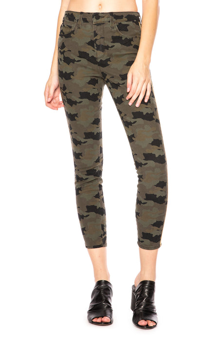 The Margot High Rise Ankle Skinny Camo Jean with Gold Trim