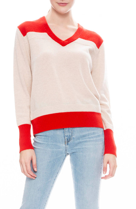Two Tone V- Neck Sweater