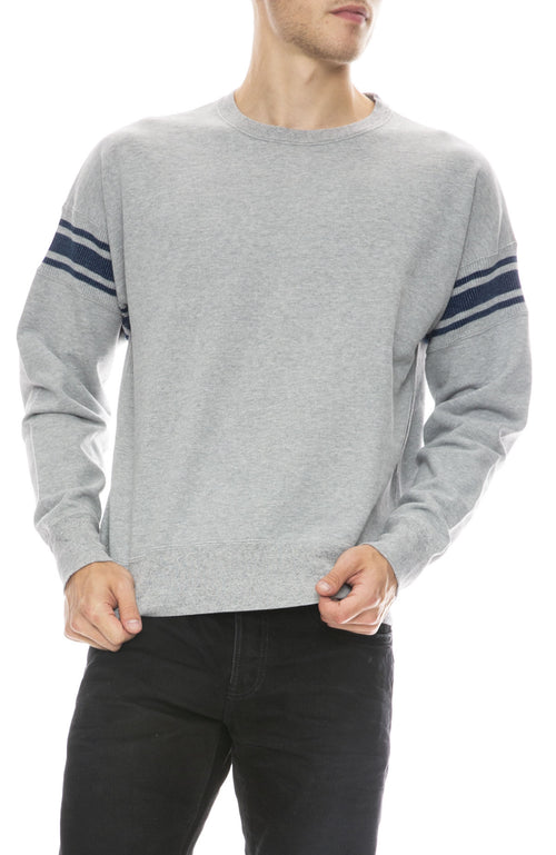 Remi Relief Mens Ribbed Stripe Sweatshirt in Heather Grey