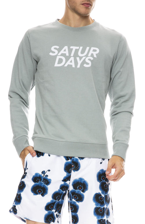 Saturdays Surf NYC Bowery Gotham Italic Sweatshirt in Stone Blue