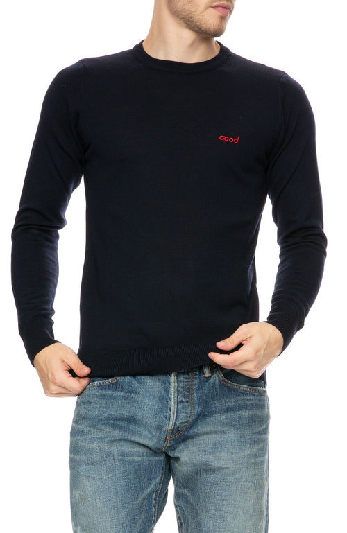 The Goodpeople Studio Wool Logo Sweater in Navy at Ron Herman