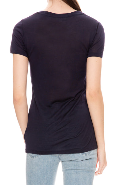 L'Agence Perfect Scoop Neck Tee in Midnight at Ron Herman