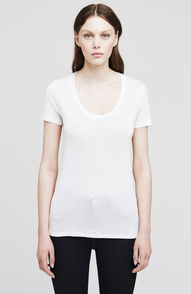 L'Agence Perfect Scoop Neck Tee in White at Ron Herman