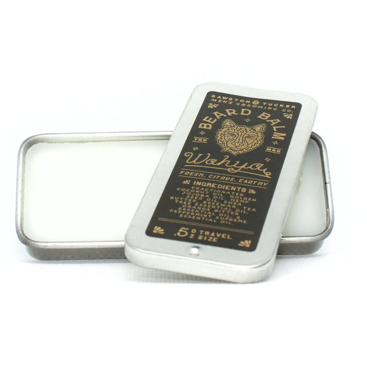 Wahya beard balm tin packaging with slider lid off
