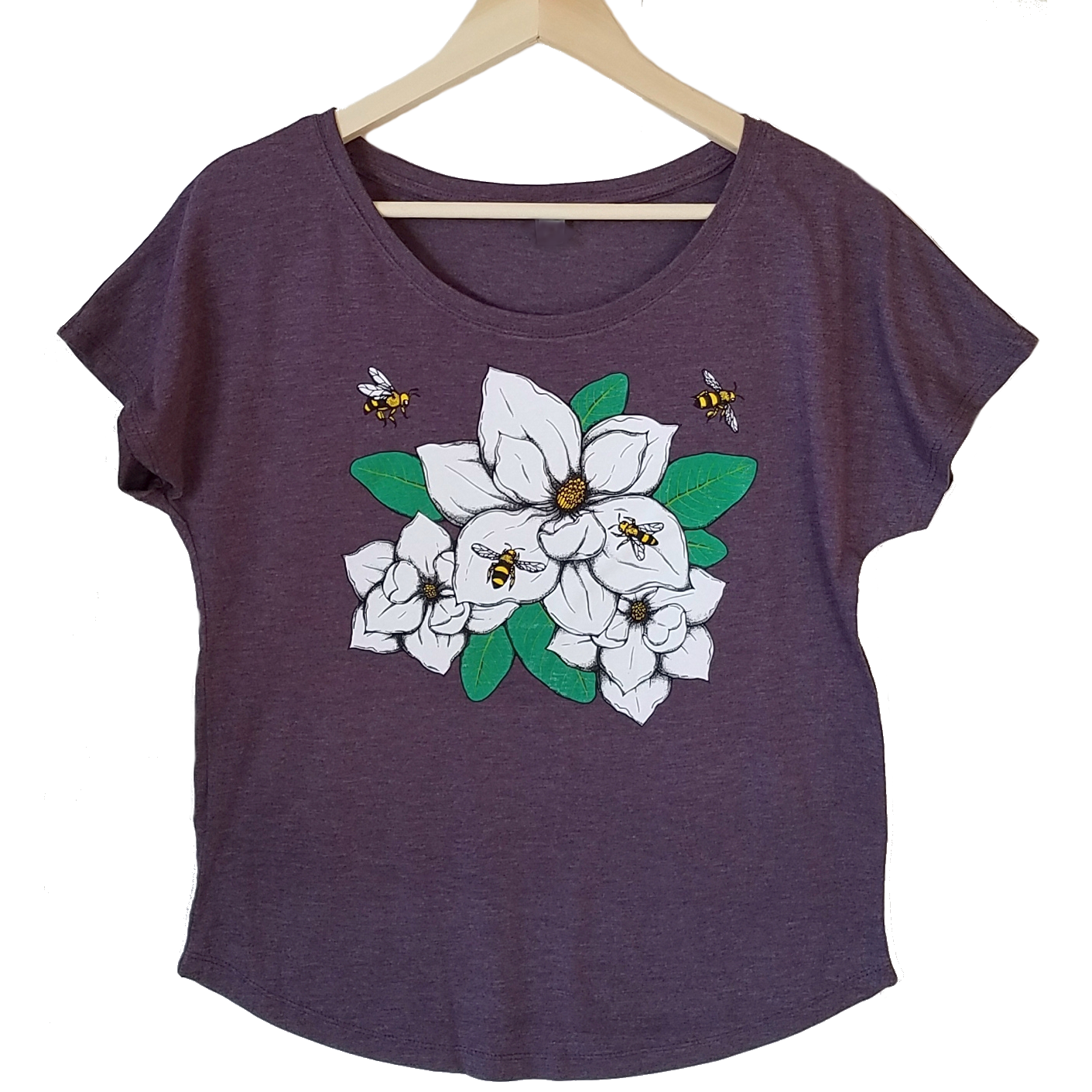 Magnolia & Honey Bees Women's T-shirt. We've created a beautiful new design that captures southern style, charm and our love of bees. Magnolias are one of our favorites and this design is so realistic, you can almost smell the sweetness.  Buttery soft triblend material in vintage black, flowers and bees in multiple colors. True to size dolman, preshrunk.  FREE package of wildflower seeds with your order.