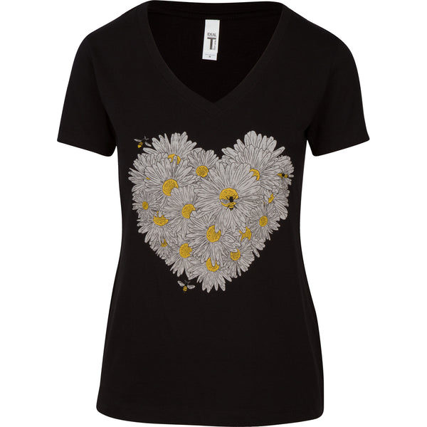 Daisy & Honey Bees Women's T-shirt. This is your new go-to shirt. Pairs easily with any outfit, soft material with an original design. No more silly bee shirts, feel confident and look great.   Cotton/poly blend, laundered, tearaway label, form fitted v-neck.