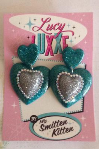 ELIZABETH..Double Queen of Heart Earrings: TEAL and SILVER