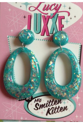 BIG BETTY Confetti Lucite Hoops: TEAL