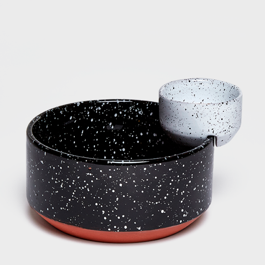 Black & White Speckled Ceramic Serving Bowl