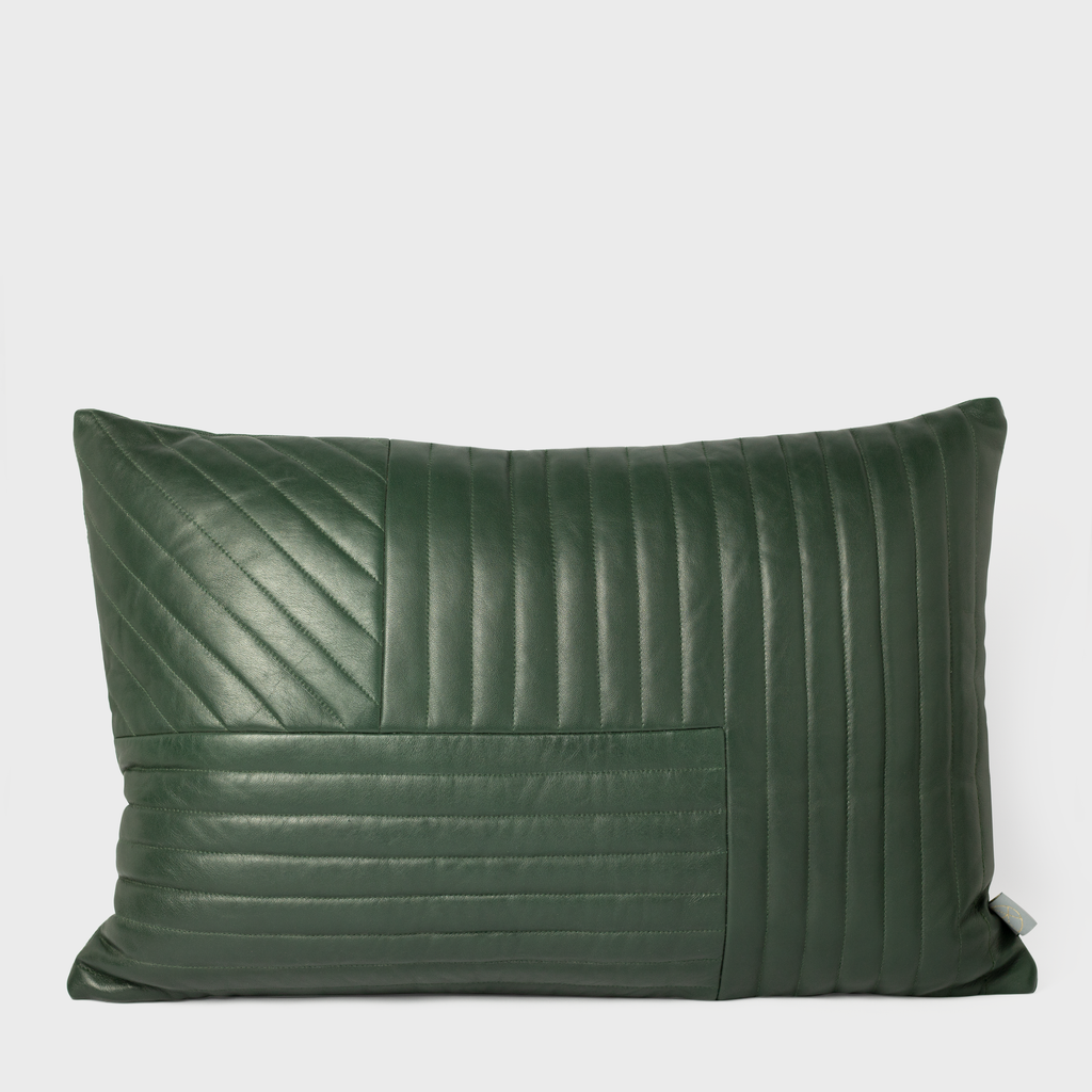 Vespiary Forest Green Quilted Leather Cushion AYTM