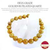 High Grade Golden Rutilated Quartz Gemstone Bracelet