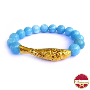24K Gold Koi in Aqua Blue Agate Gemstone Bracelet