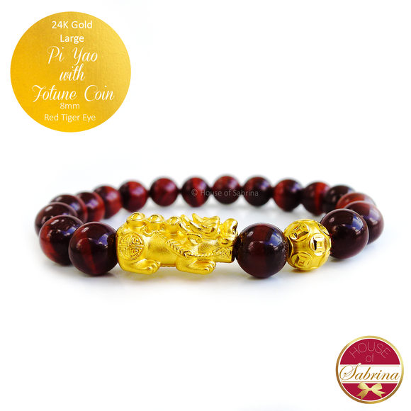 24K Gold Large Pi Yao with Fortune Coin on 8mm Blue Tiger Eye Gemstone Feng Shui Bracelet