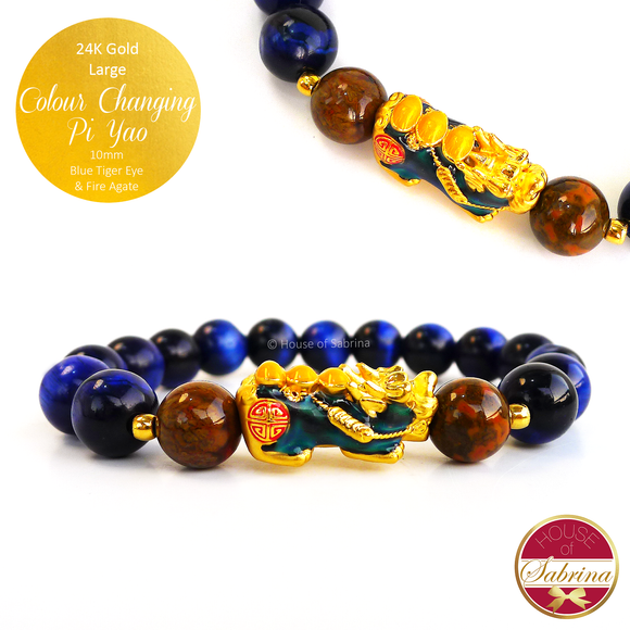24K Gold Large Colour Changing Pi Yao on High Grade Blue Tiger Eye and Fire Agate Gemstone Bracelet