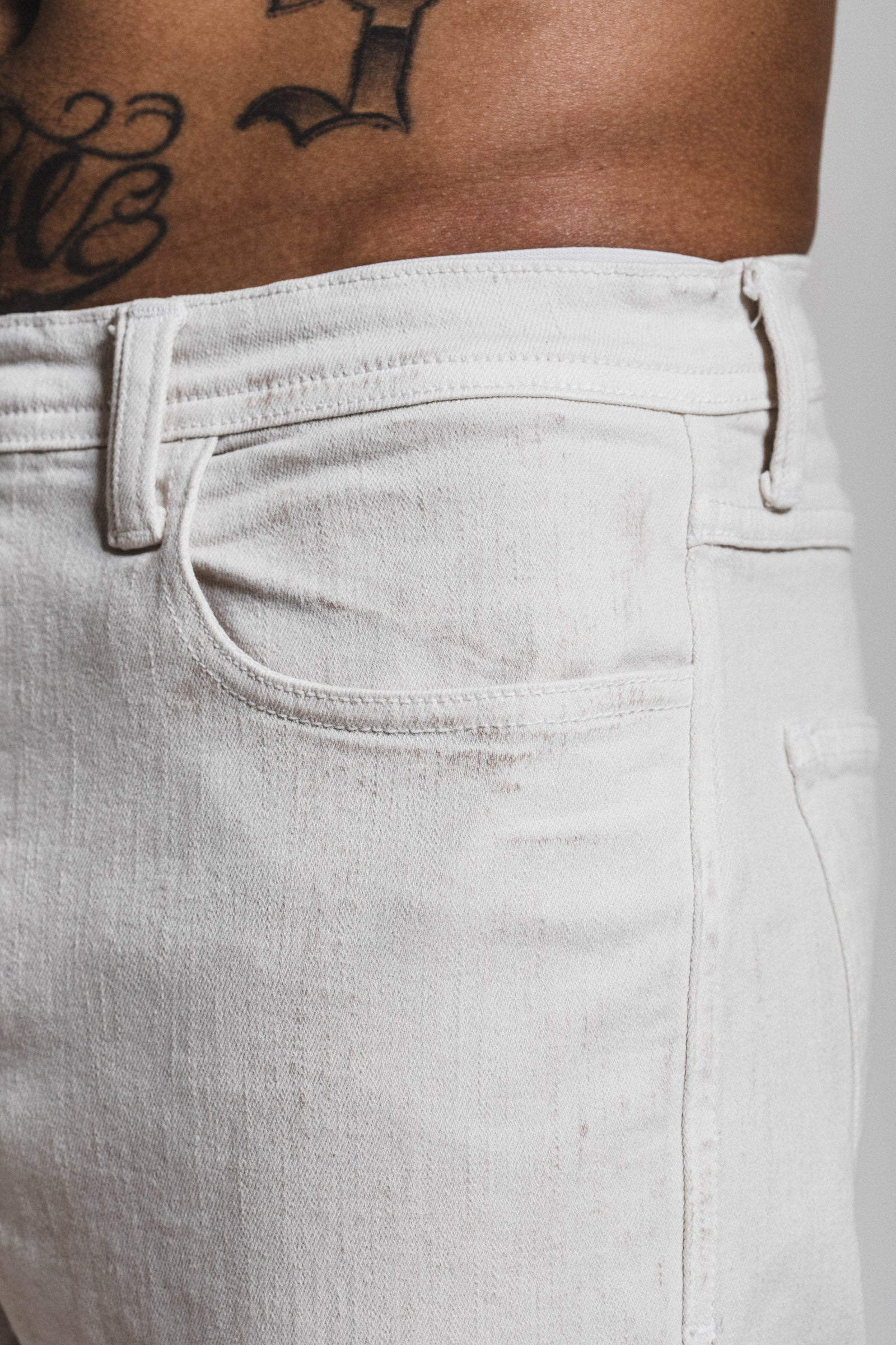 Clay Wash Skinny Denim - White