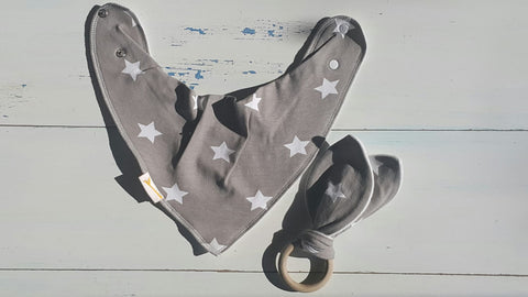 Silver Star Bib & Teething Ring Set