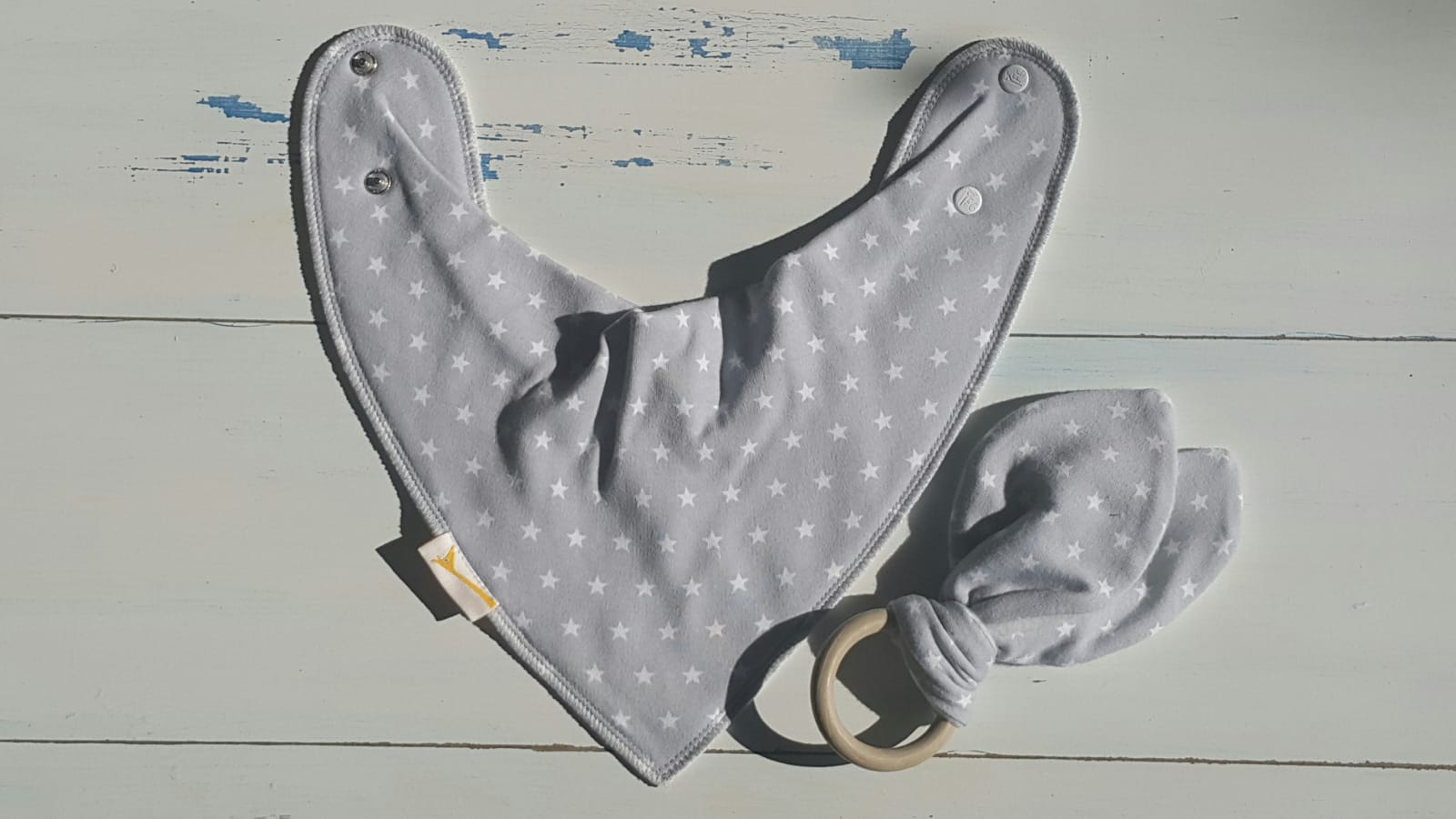 Grey Stars Bib & Teething Ring Set