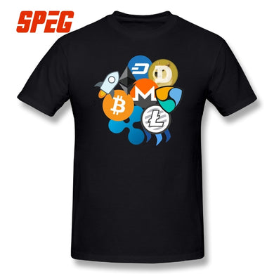 Men's T-shirts Bitcoin Ripple T shirts Ethereum Litecoin NEM Dash Monero Stellar Lumens Steem Cryptocurrency Tee 100% cotton  - Crypto Kicks