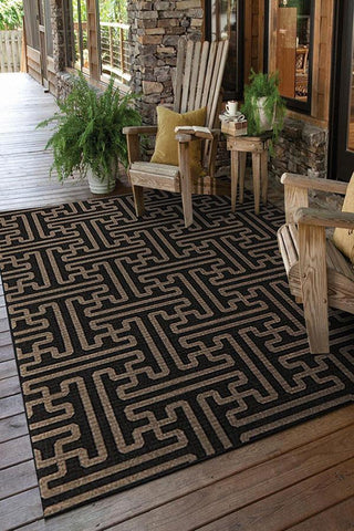 Alfresco Indoor Outdoor Collection 6506 Charcoal Rug