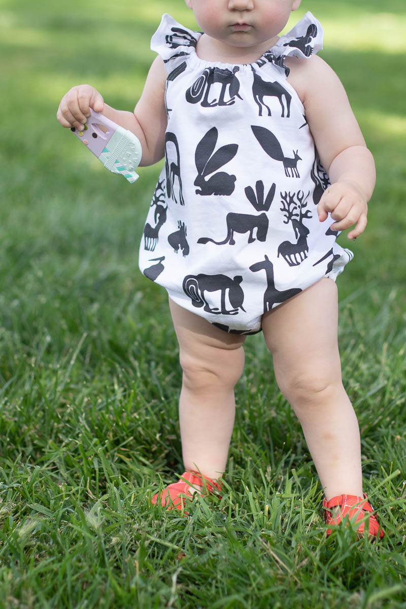 B&W Silly Beasts Flutter Romper - Ready to Ship