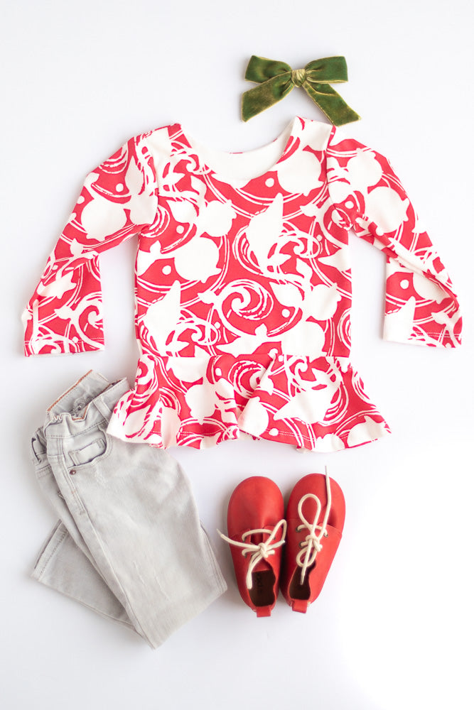 Red Berries Peplum Top- Ready to Ship