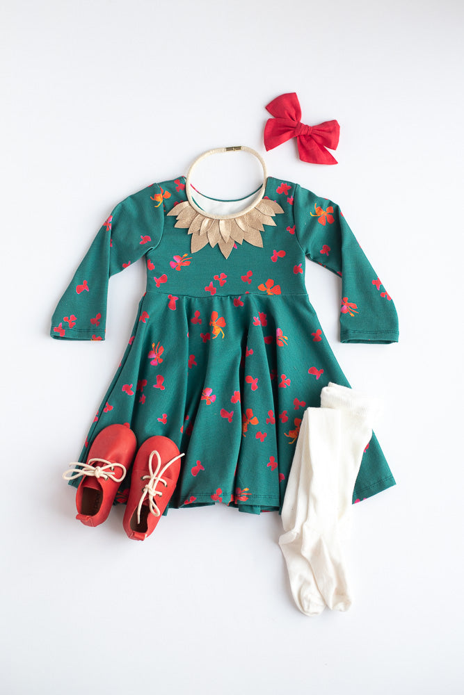 Winter Floral Twirl Dress - Ready to Ship