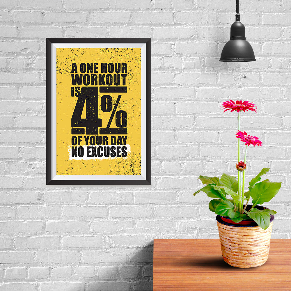 Ezposterprints - No Excuses | Gym Inspiration Motivation Quotes - 08x12 ambiance display photo sample