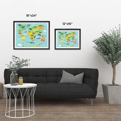 Ezposterprints - Kids' Dinosaurs World Map ambiance display photo sample