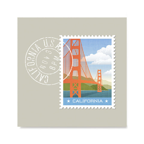 Ezposterprints - CALIFORNIA - Retro USA State Stamp Posters Collection