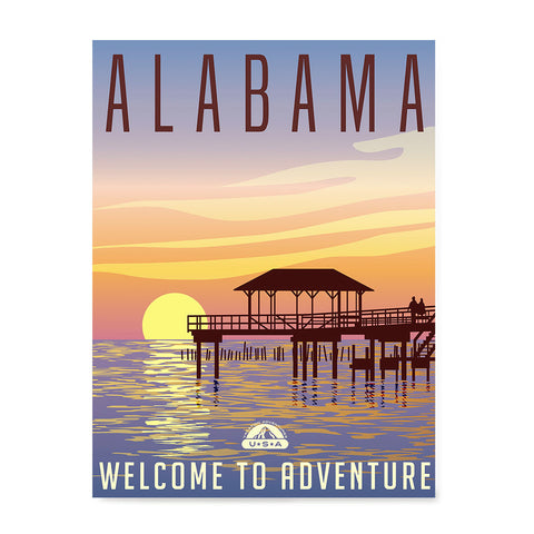 Ezposterprints - ALABAMA Retro Travel Poster