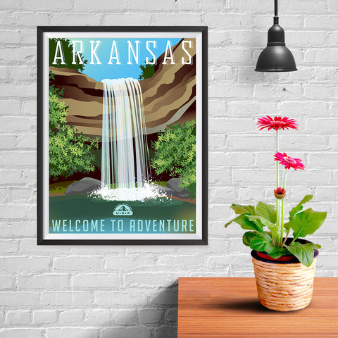 Ezposterprints - ARKANSAS Retro Travel Poster - 12x16 ambiance display photo sample
