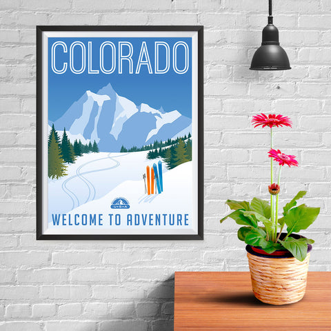 Ezposterprints - COLORADO Retro Travel Poster - 12x16 ambiance display photo sample