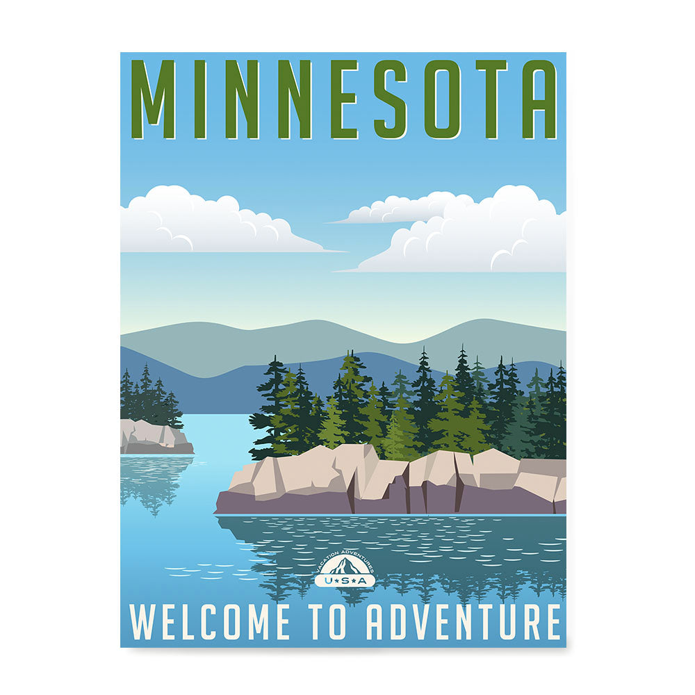 Ezposterprints - MINNESOTA Retro Travel Poster