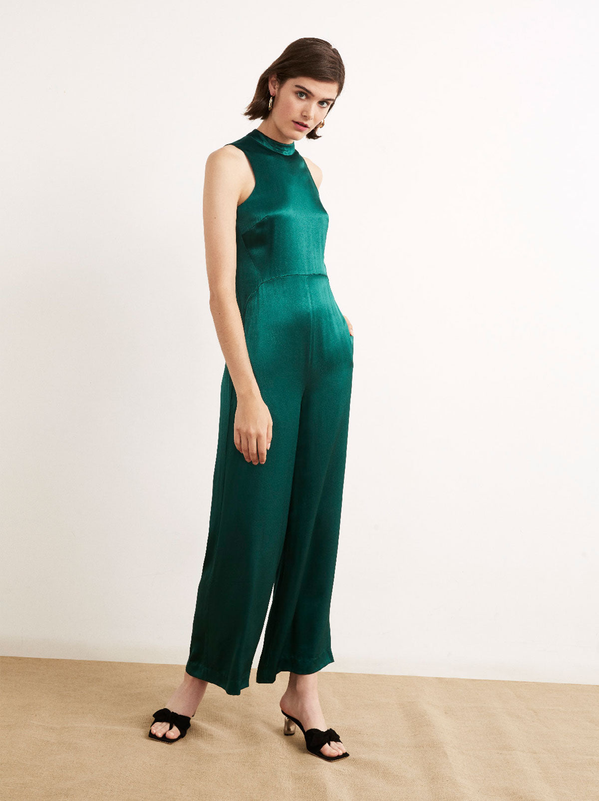 Anaya Green Satin Wide Leg Jumpsuit by KITRI Studio