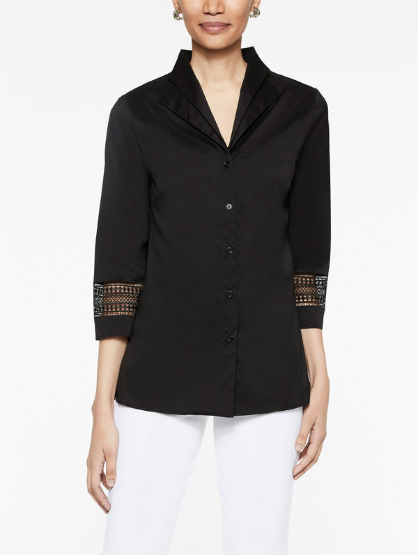 Double Collar Stretch Cotton Tunic