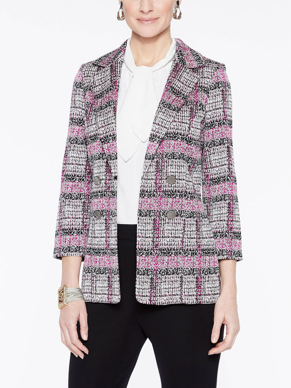 Plaid Double Button Jacket Color Fuchsia Rose/Silver/Black/Ivory