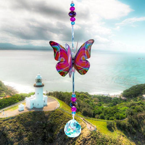 Purple Techno Butterfly Crystal Suncatcher