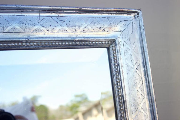 Large Rectangular French Louis Philippe St. Silver Leaf Mirror Mirrors Jacques Antiques