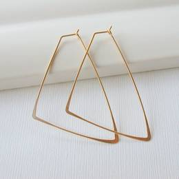 Linda Trent Jewelry Triangle 2 inch Earrings (Gold Filled)
