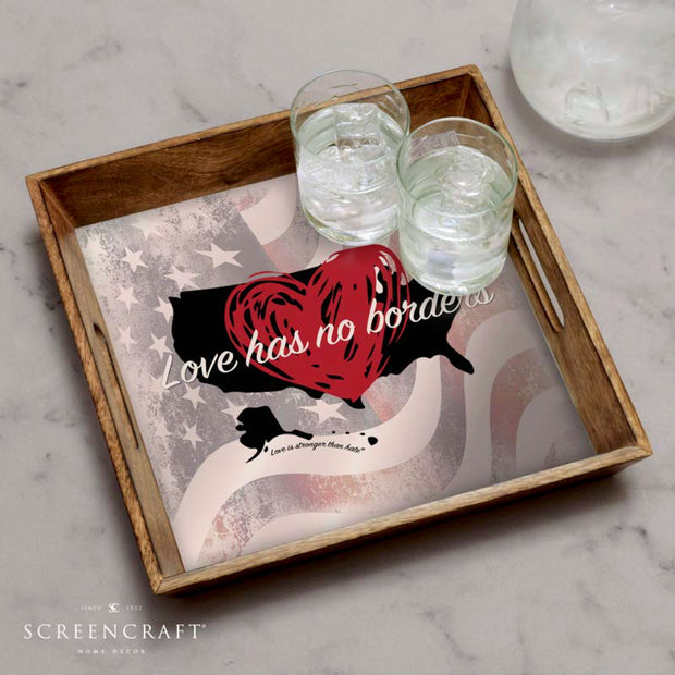 Love Has No Borders Wood Serving Tray