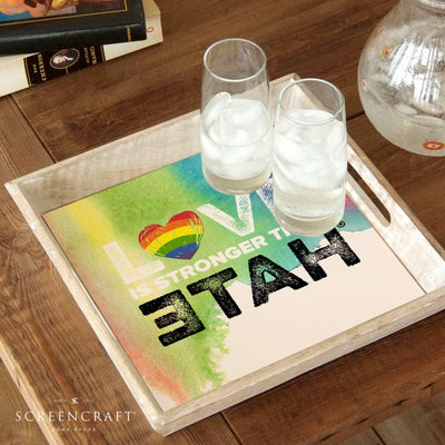 Pride Love is Stronger Than Hate™ Wood Serving Tray