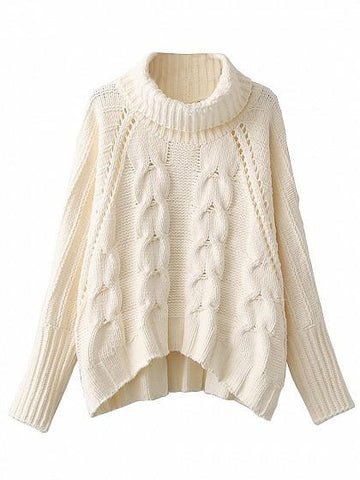 Beige High Neck Chunky Cable Long Sleeve Sweater
